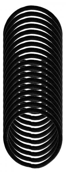 Denman Zopfgummis 4 mm Schwarz 18-er Karte