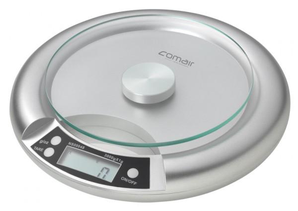 Comair Digitalwaage Q91 Glaswiegefläche 0-3000g slb. runde Form inkl. Batterie