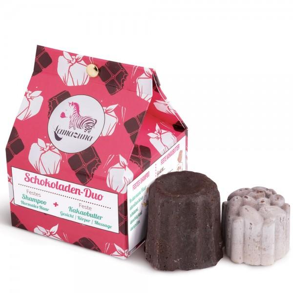 Lamazuna Schokoladen-duo Festes Shampoo + feste Kakaobutter