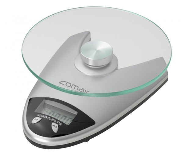 Comair Digitalwaage Q92 Glaswiegefläche 0-5000g slb. V-Form inkl. Batterie