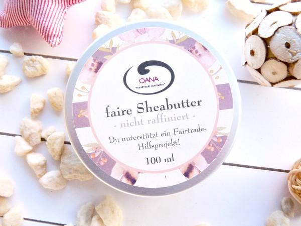 OANA Handmade Sheabutter, 100 ml, kaltgepresst, naturbelassen, vegan